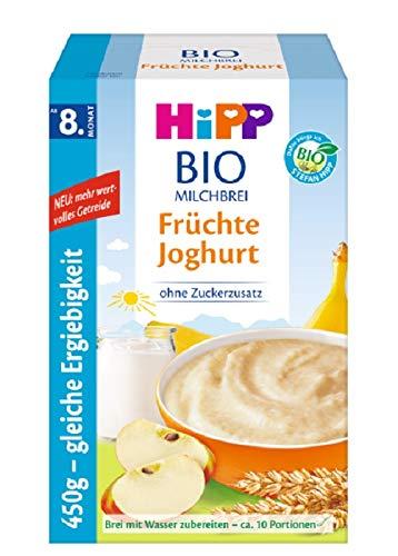 Hipp Bio-Milchbreie ohne Zuckerzusatz-Vorratspackung, ab 8. Monat, Früchte Joghurt, 4er Pack (4 x 450 g)