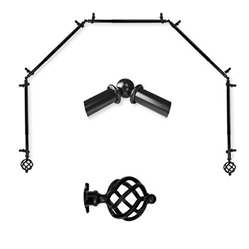 "A&F Rod Décor - Spin 13/16"" 5-Sided Bay Window Curtain Rod 28-48 inch (each side) - Black"