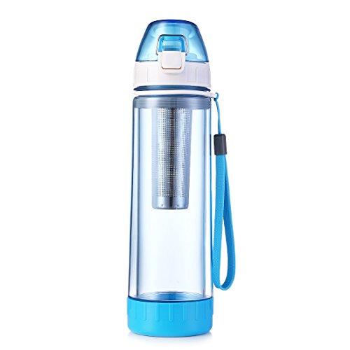 Oneisall Borraccia sportiva da 500 ml, in vetro, con plastica protettiva e infusore, doppia parete, bicchiere da viaggio per tè, adatta per sport all'aperto, ciclismo, trekking, palestra (blu)