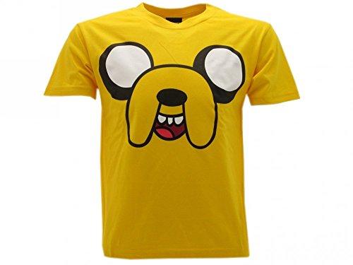 Adventure Time T-Shirt Originale Jacke Cane Volto Gialla Prodotto Ufficiale (S Adulto)