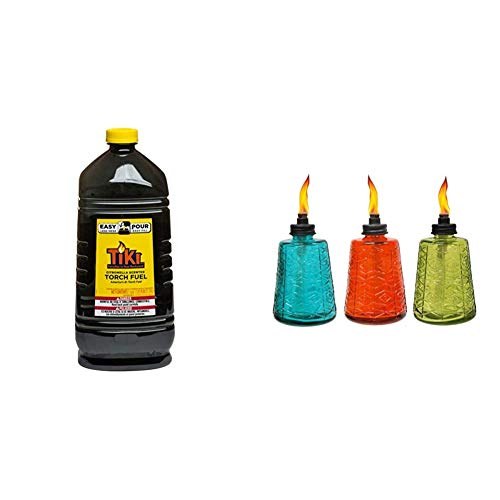 TIKI Brand Citronella Scented Torch Fuel, 1 Gallon & 6-Inch Molded Glass Table Torch, Red, Green & Blue (Set of 3)