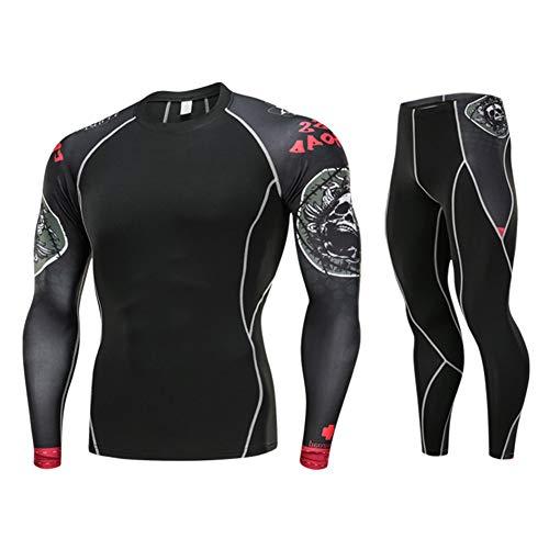 WYX Männer Compression Running Jogging Kleidung Sport Anzug Pullover Und Hosen Gym Fitness Übung Strumpfhosen,D,M