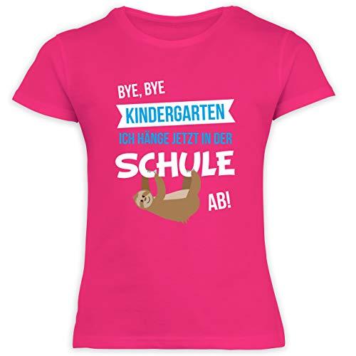 Schulkind Einschulung und Schulanfang - Bye, Bye Kindergarten ich hänge jetzt in der Schule ab! - 128 (7/8 Jahre) - Fuchsia - kindergarten abschied, schulanfang - F131K Schulanfang - Schulanfang