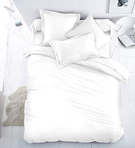 Sleep&Beyond Pure Cotton Percale Duvet Cover Set (White, Superking)