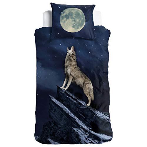 ESPiCO Wende Bettwäsche Sleep and Dream Wolf Wildtier Himmel Mond Sterne Nacht Vollmond Renforcé, Größe:135 cm x 200 cm