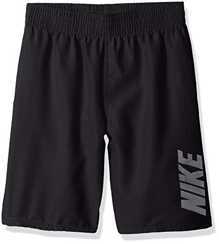Nike Swim Boys' Big Logo Solid Lap Volley Short Swim Trunk, Black, Medium