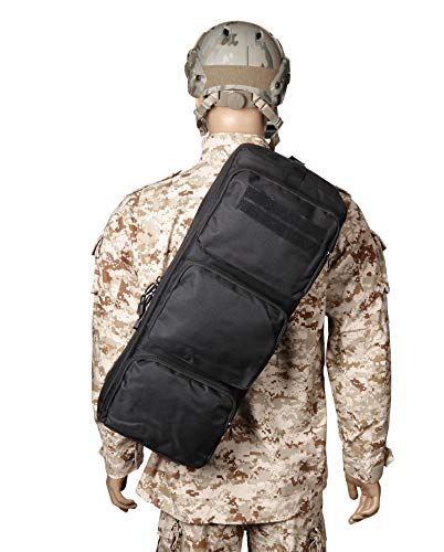 "wolfslaves New Tactical 24"" Rifle Gear Shoulder MP5 Sling Bag Army Backpack Black MPS Hunting Bag Cross Bag"