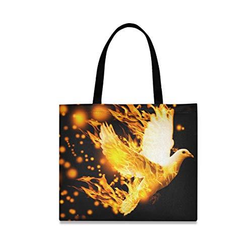Flying Dove On Fire - Bolsa de lona para mujer, tamaño grande, reutilizable, con bolsillo interior, para ir al gimnasio, playa, viajes al aire libre