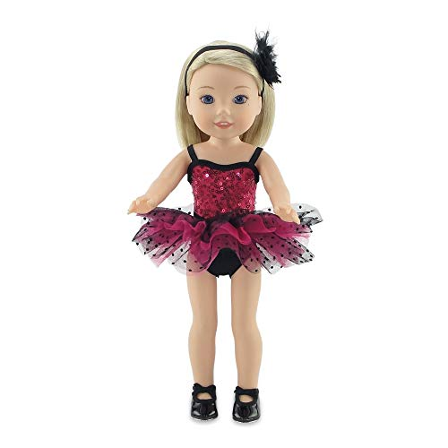 Emily Rose 14 Inch Doll Clothes   5 Piece 14 Doll Jazz Ballet Outfit, Includes Real Tap Shoes!   Gift Boxed!   Compatible with 14.5 Wellie Wishers and 14 Glitter Girls Dolls