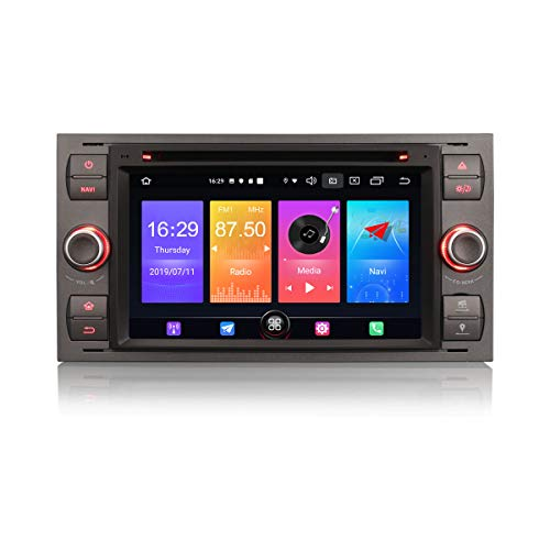 Autoradio Erisin Android 10.0 da 7'per Ford C-Max S-Max Fiesta Focus Galaxy Kuga Transit Connect Supporta DAB + Navi Carplay Bluetooth WiFi A2DP RDS DVB-T2 2 GB RAM + 16 GB ROM