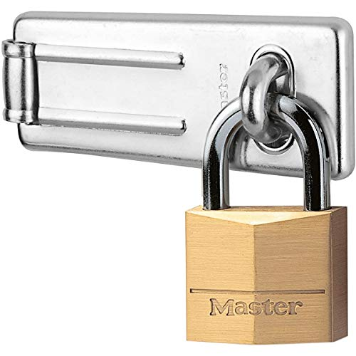 Master Lock 140703EURD Pack Including Door Hasp and Keyed Padlock