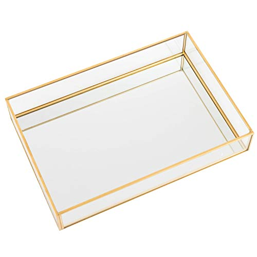 QILICZ Spiegeltablett Dekotablett Spiegel Tablett Glastablett Schmuck/Kosmetik Organizer verspiegelt Dekoration Tablett Kosmetik Platte Serviergeschirr Kerzentablett - 25x17x4.5cm