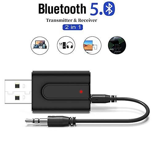 MACLY Bluetooth 5.0 Transmitter Empfänger, Bluetooth Adapter Audio 5.0, 2 in 1 Wireless Sender Empfänger aptX niedrige Latenz, aptX HD,für Auto TV PC Laptop Stereoanlage mit 3,5mm und Cinch Audiokabe