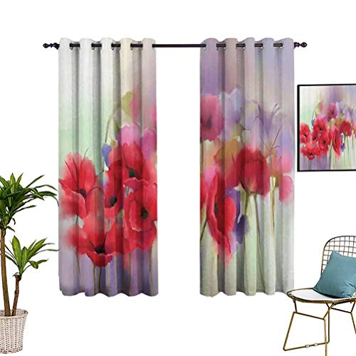 Poppy Art Blackout Window Curtain Panels Poppy Flowers Blur Spring Floral Seasonal Romantic Artistic Theme Illustration Image Grommet Top Window Treatment Drapes for Kid's Bedroom 72'x63' Purple Pink