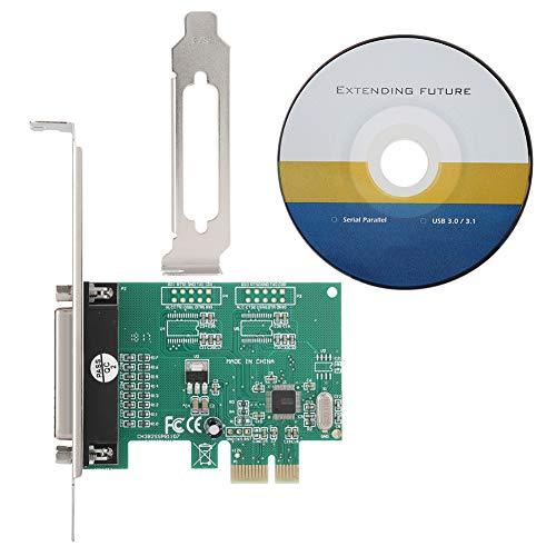 ASHATA Tarjeta Adaptadora de Puerto Paralelo PCI-E,Impresora DB25 LPT de Puerto Paralelo a Convertidor PCI-E,Tarjeta de Expansión Paralela LPT,para Windows 98SE ME 2000  XP Vista Win7 8 10