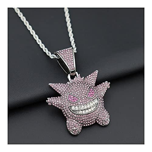 Collares para Mujer Tres Colores Dorado/Plateado/Morado Están Disponibles Collar con Cadena Regalos ,Colgante De Diamantes Pokémon Baño De Oro Tipico Colgante De (Color : Silver)