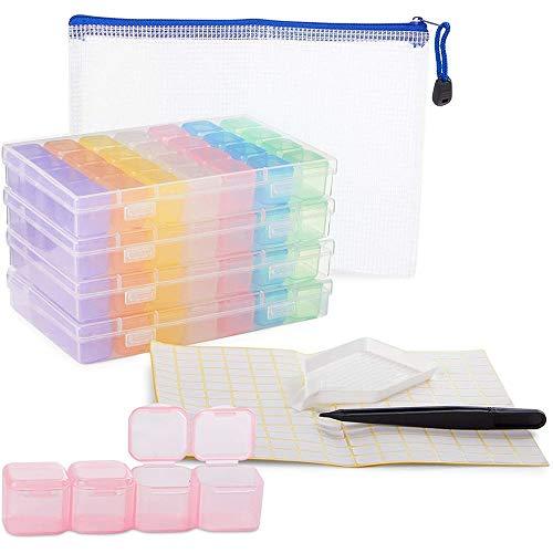 Diamant-Malset für Erwachsene, inklusive 4 Aufbewahrungsboxen, Pinzette, Etiketten (10 Stück)