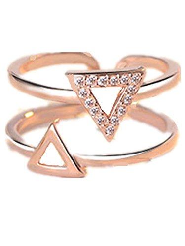 Boowhol - Anillo para mujer o niña, plata 925, fantasía doble triángulo con diamante prometido, anillo de la cola del índice ajustable (rosa dorado)