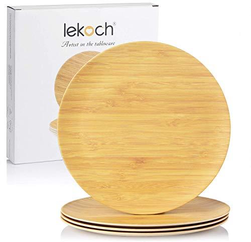 Lekoch 10 inch Bamboo Plates,Stacka…