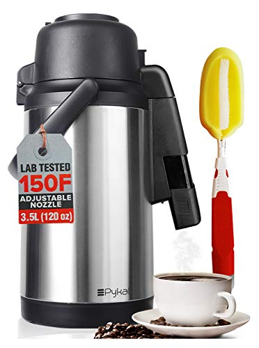 SplashProof Coffee Carafe Airpot Dispenser - with Adjustable Nozzle | 120 oz Capacity | Lab Tested 24 hour > 150F Heat Retention | Premium Grade Rust Resistant double wall stainless steel by Pykal