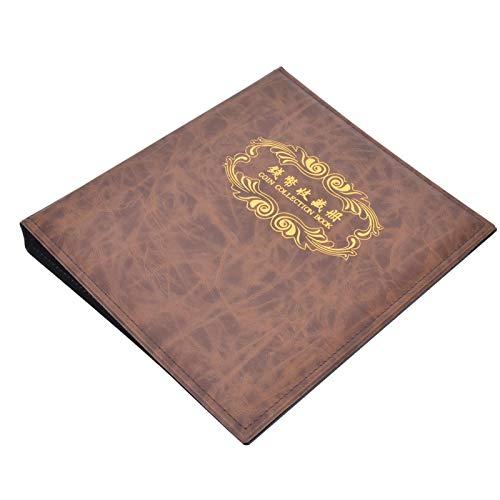 Libro de colección de monedas, decoración del hogar, soporte de colección de billetes de 3 orificios, álbum de billetes de papel ligero, para sellos de dólares de plata(brown)