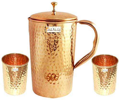 アーユルヴェーダ銅水ピッチャー - 2水ガラスのセットと1ジョッキ - 手作りの銅の贈り物 - 容量1.6リットル