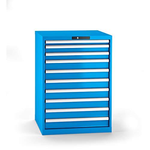 LISTA Schubladenschrank, Traglast/Schubl. 75 kg, 10 Schubl.: 50,2x75,7x100 mm, Zylinderschloss, BxTxH 717x 725x1000 mm, RAL 5012 lichtblau
