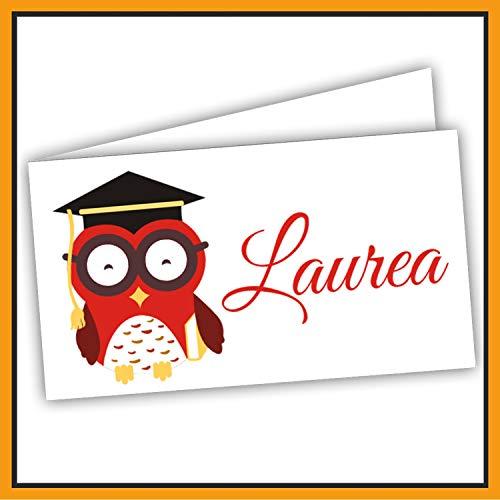 Bigliettini Bomboniera Laurea Gufo, Biglietti Sacchetti Confetti - Laurea 60 pezzi pretagliati - stampa l'interno con il file da scaricare dal link e il foglio di prova per non sbagliare