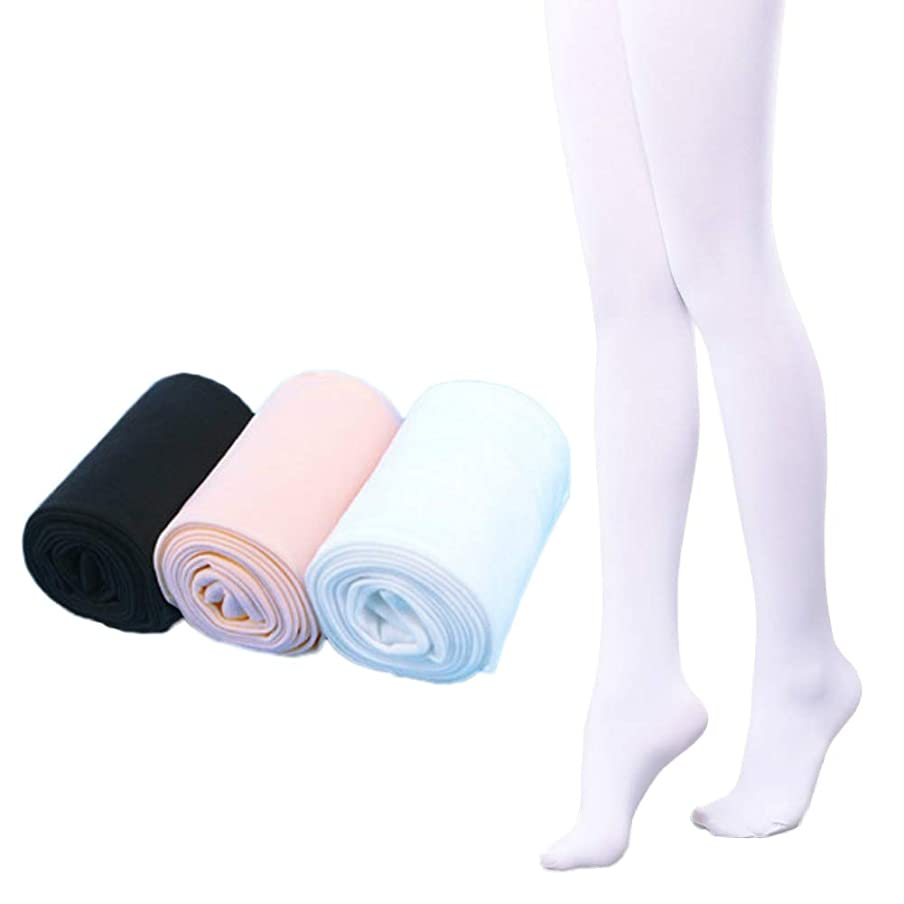 Dejian 3 Pairs Toddler Kids Baby Girls Soft Microfiber Ballet Dance Tights Velvet Stockings Pantyhose 1-14 Years old