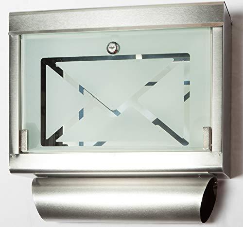 Jet-Line Briefkasten Wandbriefkasten Modell 'Letter Box' mit großem Sichtfenster Edelstahl silber oder schwarz (Silber)