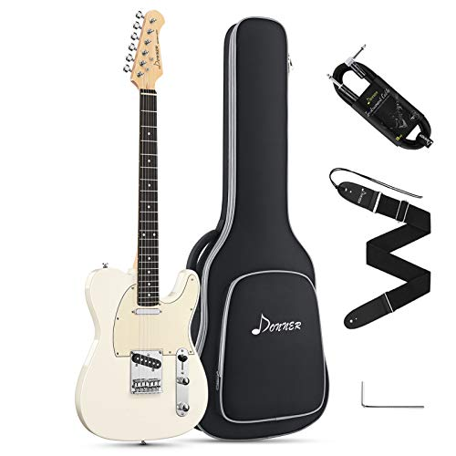 Donner 39 Inch Telecaster Electric Guitar Full Size Tele Style Solid Body White Beginner with Bag, Strap, Cable,DTC-100W