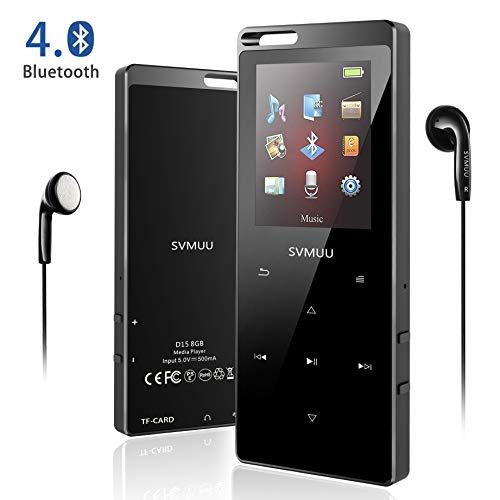 """SVMUU MP3 Player, Bluetooth 8GB Digital Musik Player 1.8\"""" TFT Bildschirm Audio Player mit Kopfhörer, UKW Radio, Schrittzähler, Schlaftimer und Sprachaufnahme Speicher Erweiterbar bis 64 GB(MEHRWE)"""