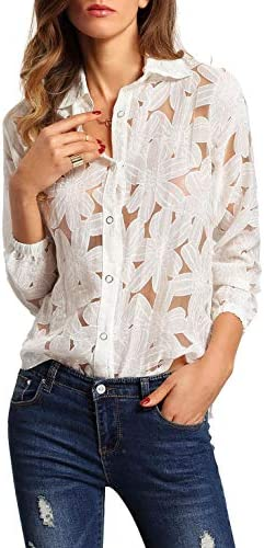 SheIn Women s Sexy Sheer Crochet Flower Print Long Sleeve Top Blouse White product image