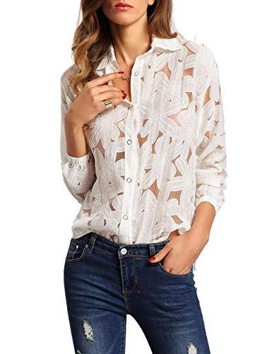 SheIn Women's Sexy Sheer Crochet Flower Print Long Sleeve Top Blouse White