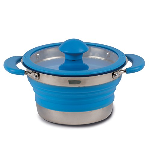 Siehe Beschreibung Leichter, Faltbarer Topf aus Silikon und Stahl in blau 1 Liter mit Glasdeckel Griffen • Kochtopf Kochgeschirr faltbar Camping Geschirr Zeltküche Outdoor 1L
