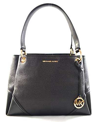 Michael Kors Women's Nicole Large Shoulder Bag Tote Purse Handbag (Black Leather)