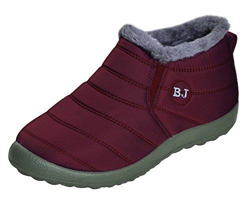 Minetom Herren Damen Winterschuhe Warm Gefütterte Boots Stiefelette Outdoor Schneestiefel Winter Schuhe BJ Rot 36