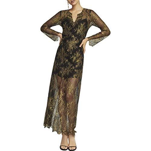 BCBG Max Azria Olivia Womens Metallic Long Sleeve Lace Maxi Dress Black Size XS