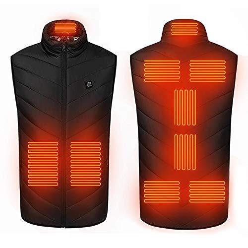 GL-GDD Chaleco calentado, carga USB, chaqueta eléctrica calentada, 3 niveles de calefacción, 9, zona de calefacción, lavable para mujeres, hombres, al aire libre, motocicleta, caza, negro, XXXXL