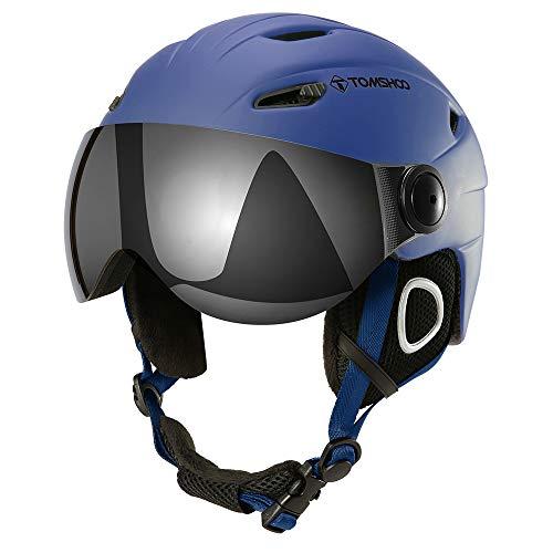 Casco de esquí, Casco de Seguridad Certificado Esquí Profesional Snowboard Casco de Deportes de Nieve Orejera Desmontable Gafas integradas/Sin Gafas (Azul Claro, M)