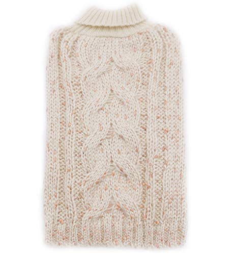 kyeese Dog Sweaters Turtleneck Dog Pullover Sweater Knitwear with Golden Yarn Warm Pet Sweater for Fall Winter