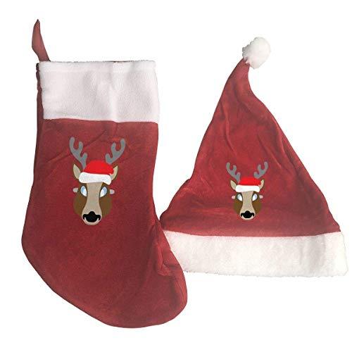 LLOOP Juego de calcetines y gorro de Navidad, diseño clásico de reno rojo y blanco, para colgar calcetines y adornos de gorro de Papá Noel para vacaciones familiares, decoraciones de fiesta de Navidad