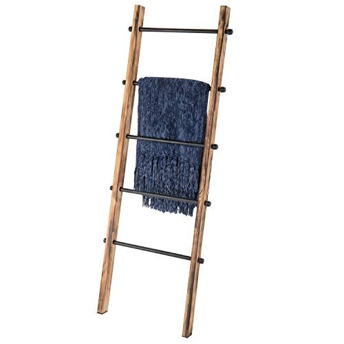 MyGift 5-ft Urban Rustic Wall-Leaning Burnt Wood & Metal Blanket Ladder