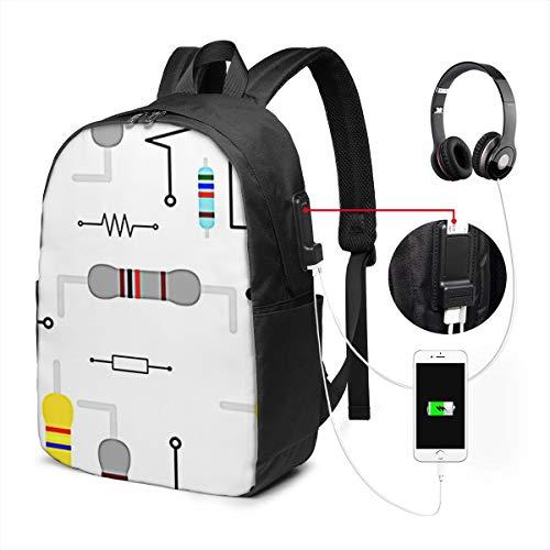 WEQDUJG Mochila para El Laptop para Ordenador del Trabajo Viaje Tablero Electrónico de Resistencia Eléctrica Mochila para El Laptop para Ordenador del Trabajo Viaje