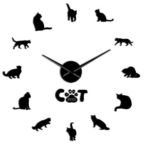 xinxin Reloj de Pared Lindo American Shorthair Gato Raza 3D DIY Reloj de Pared acrílico Gato Gatito Figura Animal Reloj Reloj Sala de Estar decoración de Pared Pegatina