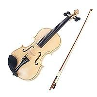 Funien 4/4ヴァイオリン、4/4バイオリンメープルウッドパネルバスウッドバックサイドパネル、ギグバッグ付きブラジルウッドバイオリンボウ初心者用弦楽器