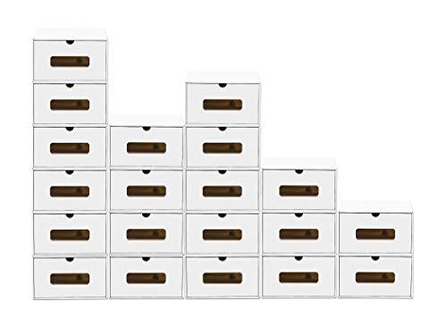 BigDean 20er Boxen-Set mit Sichtfenster & Schublade - Pappkarton aus Kraftpapier - Schuhbox Spielzeug-Box Aufbewahrung für Zubehör & Accessoires
