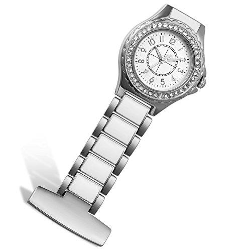 Lancardo Reloj de Bolsillo de Doctor Enfermera Brazalete de Acero Inoxidable Dial con Diamantes Artificiales Prendedor de Broche con Clip para Uniforme Médico Paramédico (Plata) – 2PCS