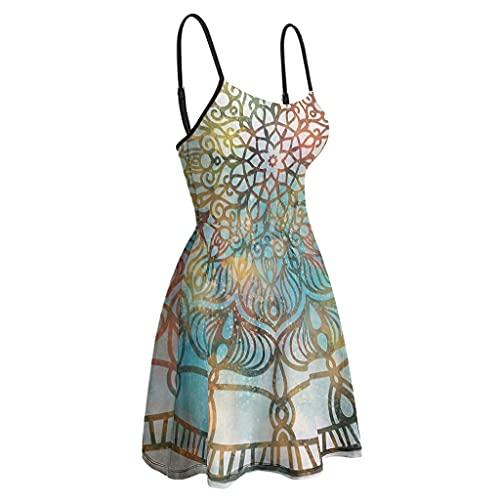 Vestido de tirante mágico para mujer, con dobladillo oscilante, casual, vestido corto bohemio, para playa