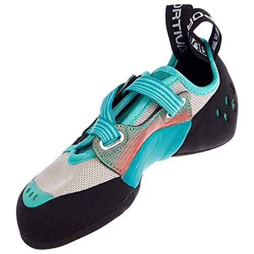 La Sportiva Women's OXYGYM Climbing Shoe, Mint/Coral, 39.5